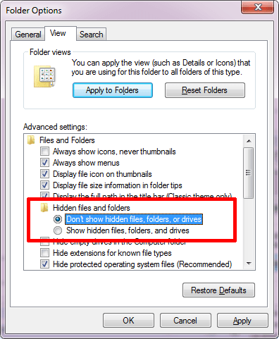 hide or show all the files