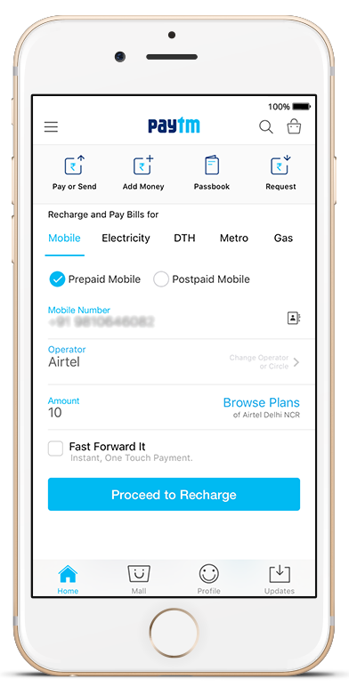 mobile recharge by paytm